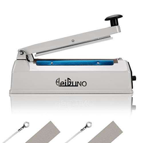 HeiGuno 8' / 200mm 110V Metal Shell Impulse Manual Hand Sealer Heat Sealing Machine Spare Teflon & Sealing Elements