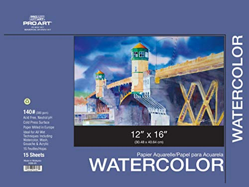 PRO ART 12-Inch by 16-Inch Watercolor Paper Block 140-Pound