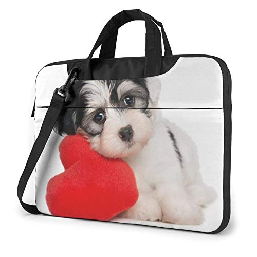 Perro Cachorro con un corazón Rojo Lindo Animal Divertido Bolso para computadora portátil Bolsa de Mensajero maletín Bolso Bandolera Bandolera Bolsa de Trabajo