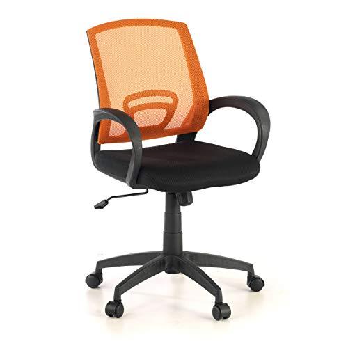 OFICHAIRS | Silla Canton | Silla de Escritorio | Silla de Ordenador de Oficina | Silla Juvenil | Respaldo Transpirable de Malla | Mecanismo Basculante | Color Naranja