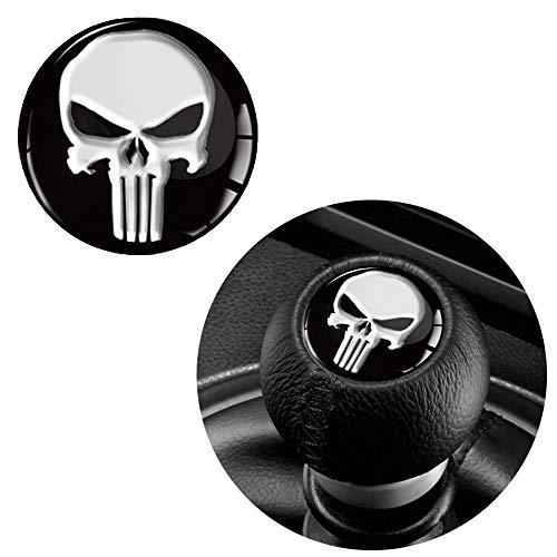 SkinoEu® 1 x Schalthebel Aufkleber Schaltknauf Emblem Silikon Sticker Punisher Skull Schädel Totenkopf Durchmesser 30mm Auto Moto Zubehör Motorrad Tuning JDM S 53