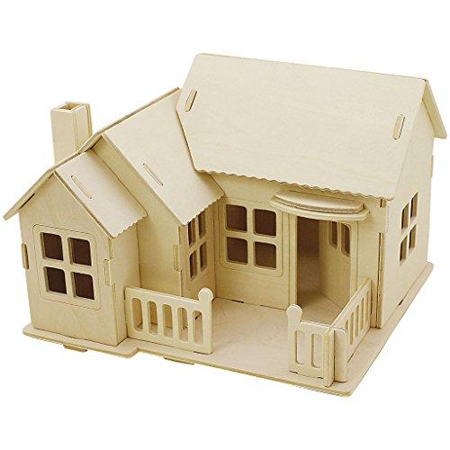 Kit de construcción de madera 3D, casa con terraza, tamaño 19 x 17,5 x 15 cm, madera contrachapada, 1 pieza