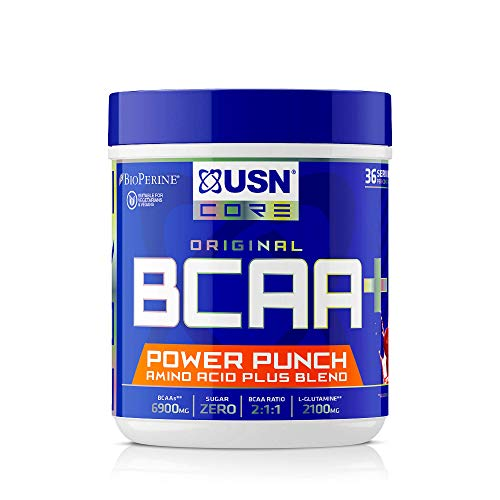 USN BCAA Power Punch, BCAA Powder with Vitamin B6 Intra Workout Amino Drink, Cherry, 400 g