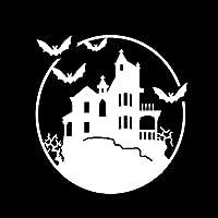 ステッカー剥がし 11.6 * 12.1CMハロウィンコウモリ城の装飾カーモデルステッカービニールアクセサリー ステッカー剥がし (Color Name : Silver)