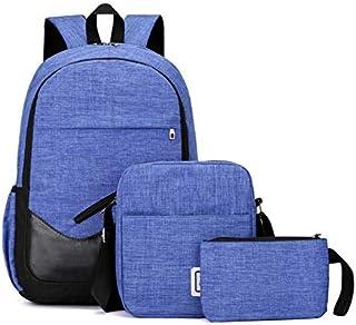 キッズリュックサック、 カジュアルな女の子と男の子3ピースティーンバックパックセット3 in 1ラップトップバッグ学生バックパックショルダーバッグ財布スクールブックバッグキャンバススクールバッグ旅行のための毎日の使用 (色 : 青)