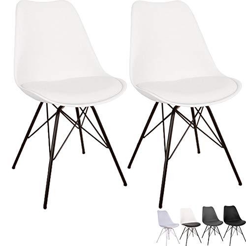 Nimara 2er Set Comfort Stuhl in skandinavischem Design | Esszimmerstühle und Küchenstühle | Stühle in Schwarz, Weiß, Grau und Mehreren Farben | Sitzkissen Stuhl | Retro Stuhl (Weiß)