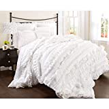 Lush Decor Belle 4 Piece Ruffled Shabby Chic Style Bed Skirt and 2 Pillow Shams, King, White