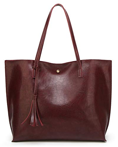 Women's Soft Faux Leather Tote Shoulder Bag from Dreubea, Big Capacity Tassel Handbag Dark Red New Style