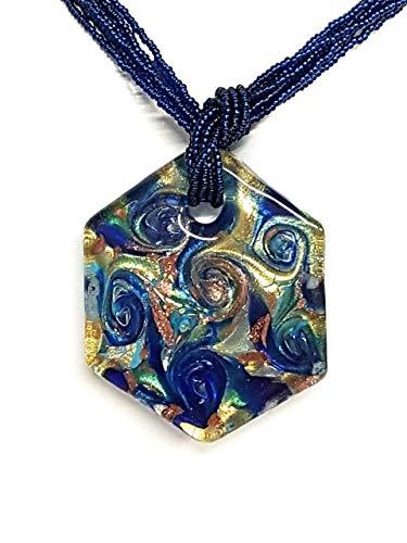 Venetiaurum - Collier pour femme en verre original de Murano et argent 925 -