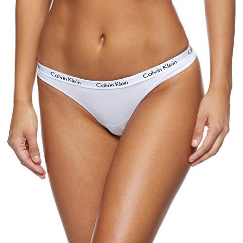Calvin Klein Carouse, Tanga para Mujer, Blanco (WHITE 100), XS (Tamaño del fabricante: 34)