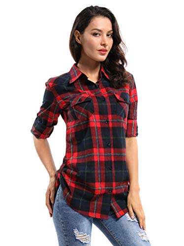 OCHENTA Women's Mid Long Style Roll Up Sleeve Plaid Flannel Shirt C029 Blue Red Label Asian Large - US Small/ US 2