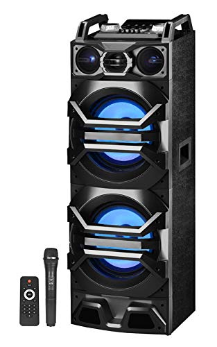"Technical Pro Dual 10"" 3000w Powered Bluetooth Speaker w/USB/SD/LED+Wireless Mic"