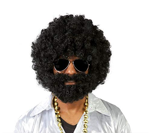 Guirca Fiestas gui4869Peluca Afro con Barba Negra (Caja Contenedor)