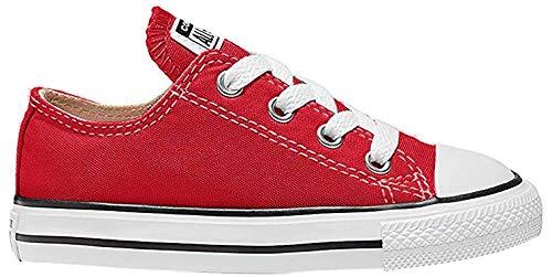 Converse Ctas Core Ox 015810-21-4 - Zapatillas de tela para niños, Blanco-Rojo, 22 EU (6UK)