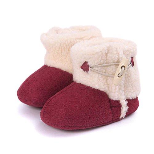 MIYA Super Süß Baby Lammfell Stiefel, rutschfeste Lauflernschuhe, warm Winter Plüschschuhe, weich, warm und schön, 6~12 Monate,Grau/weinrot/beige (weinrot)