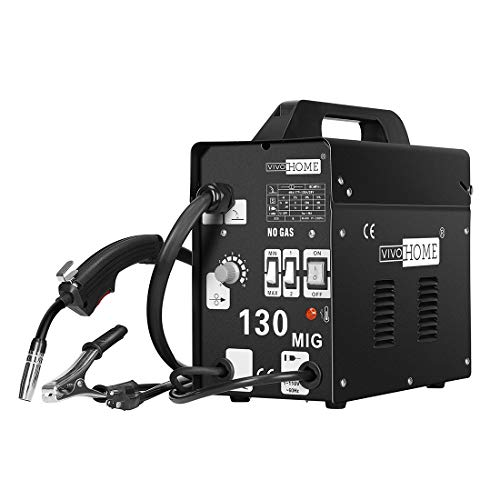 VIVOHOME MIG Welder 130 Flux Core Wire Automatic Feed Welding Machine Portable No Gas 110V DIY Home Welder w/Free Mask Black