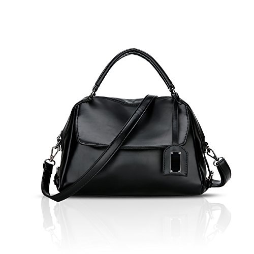 Tisdaini® Damenhandtaschen Mode Schultertaschen PU Leder Shopper Umhängetaschen Schwarz
