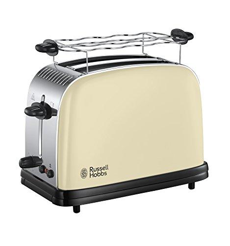 Russell Hobbs Toaster Colours+ creme, 2 extra breite Toastschlitze, inkl. Brötchenaufsatz, 6 einstellbare Bräunungsstufen + Auftaufunktion, Schnell-Toast-Technologie, 1670W, 23334-56