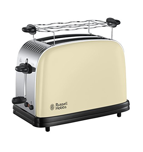Russell Hobbs Colour Plus+ Vintage Cream Broodrooster Crème/Off-White, Extra Brede Sleuven, Extra Snel, Makkelijk Reinigbaar, RVS, Hoogglans Crème, 23334-56