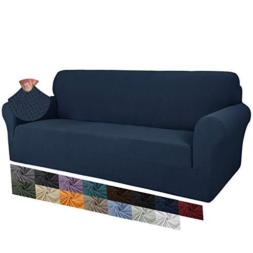 MAXIJIN Fodere per divano jacquard creative per 3 posti, 1 pezzo copridivano antiscivolo super elasticizzato per cani copridivano elastico (3 Posti, Blu Navy)