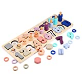Voamuw Wooden Number Puzzle Sorting Montessori Toys for Toddlers, Shape Sorter Counting Game for Age 3 4 5 6 Year olds Kids - Preschool Education Math Stacking Block Learning Wood Chunky Jigsaw
