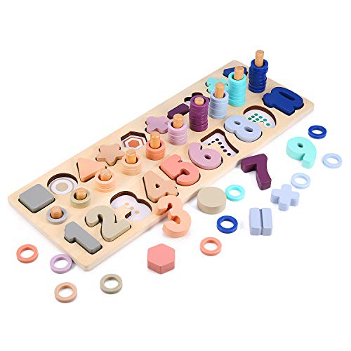 Wooden Number Puzzle and Shape Sorter Game for Todders