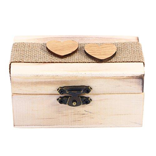 TOPBATHY Holz Ring Box Vintage Rustikale mit Herzstück Hochzeit Ring Box Verlobungsring Schmuckschatulle für Verlobung Heiratsantrag
