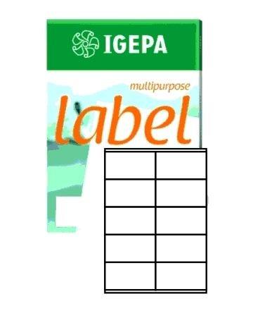 Igepa Label Multipurpose Etiketten 105 x 57 mm Papier permanent haftend für Laser- und Injektdrucker sowie Kopierer 100 Blatt A4 / 1000 Etiketten