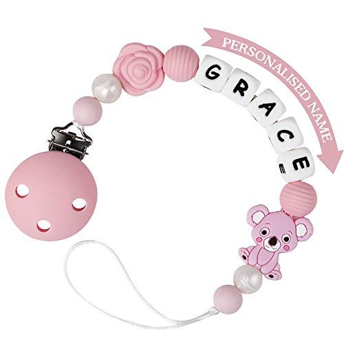 Schnullerkette mit Namen für Mädchen und Jungs Personalisierte Schnuller Dummy Clips Zahnen Silikon Koala Babydusche (Rosa)