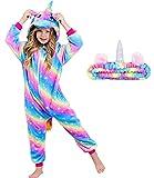 Unicorn Pajamas Onesie Costume with Matching Headband for Girls (Rose blue starlight, 7-8 Years)