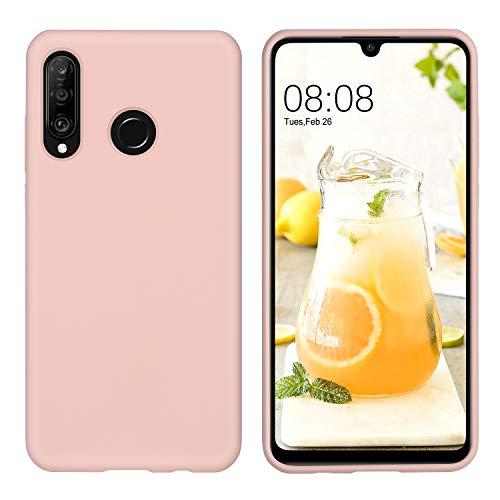 DUEDUE Huawei P30 Lite Hülle, Huawei P30 Lite Handyhülle Huawei P30 Lite Schutzhülle Slim dünne case Liquid Silikon Gel Matte Hülle Kratzfest Silikon Case Cover Hülle für Huawei P30 Lite Pink