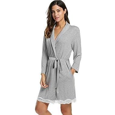 Avidlove Womens Bathrobe Soft Kimono Cotton Knit Robe Lace Trim Sleepwear,Gray,Small