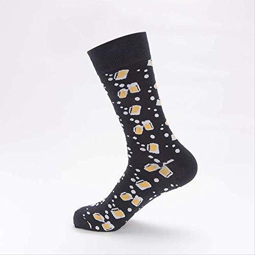 NANAYOUPIN New British Style Flut Socken, Happy Socken Farbe Ölgemälde-Serie, Medium Tube Baumwolle Männer und Frauen Paar Socken Bierkrug