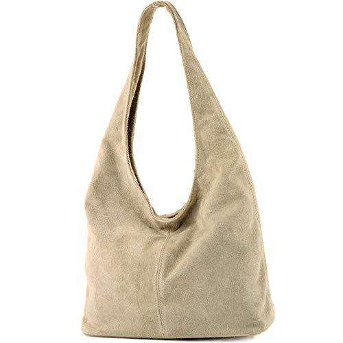 modamoda de - italiana de cuero bolso de gamuza T150, Color:colores de arena