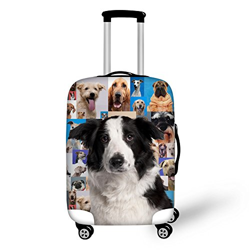 HUGS IDEA 18/20/22 Inch Cute Puppy Border Collie Travelling Luggage Protector Cover