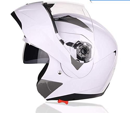 Doble Visera Casco Moto Modular ECE, Casco de Moto Doble Visera, para Mujer Hombre Adultos con Doble Visera-Blanco XL