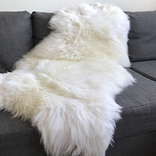 Wildash London - Luxurious Sheepskin Rug - Creamy White, Opulent Fleece LARGE 100cm -...