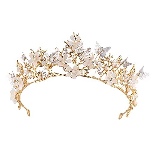 Lurrose Tiara de strass, coroa de borboleta, coroa de flores para noivas, casamentos, festas de formatura