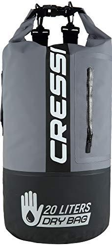 Cressi - Sub S.p.A. Sac Étanche avec longue bandoulière réglable - Mixte Adulte - Noir (Noir/Gris/Bicolor) - 20 L