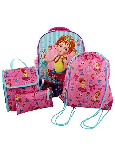 Fancy Nancy Girls 5 piece Backpack and Snack Bag School Set (One Size, Pink/Blue)