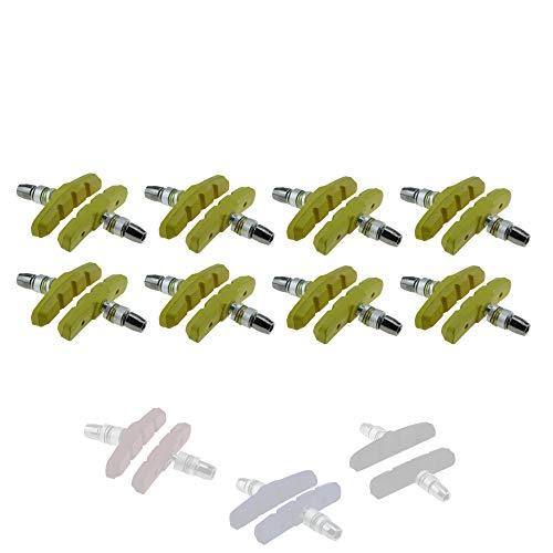 P4B | V-Brake Fahrrad Bremsschuhe für Ihre Felgenbremse - 70 mm | Symmetrisches Gewinde | Mit Bolzen und Befestigungsteilen | Für Jede Wetterlage geeignet (H) Gelb / 8 Paar = 16 Stück