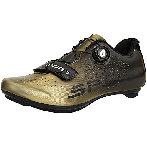 XTZLTY Zapatillas De Ciclismo para Hombre, Zapatos De Montar En Bicicleta De Carreteras para Mujer Zapatos De Ciclo SPD Transpirable para Carreras De Montar Al Aire Libre Interior,D,45