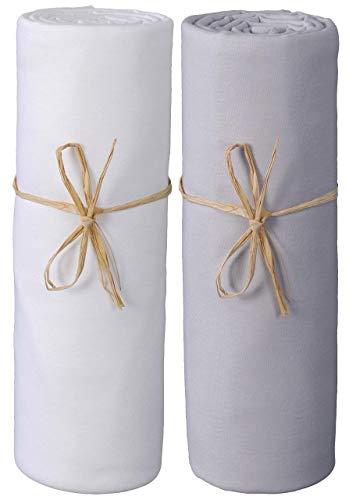 P'tit Basile - Lot x2 Draps housse bébé jersey Bio - berceau cododo cosleeping nacelle, ajustable matelas NEXT2 ME DREAM, KINDERKRAFT, SAFETY 1st - extensible 40x80 cm à 50x90 cm - Blanc/Gris perle