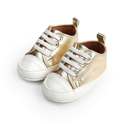 Morbuy Künstliches PU Baby Schuhe Turnschuhe Mädchen und Jungen Kleinkind Babyschuhe Neugeborene Anti-Rutsch Weiche Alleinige Krabbelschuhe Wanderer Weiche (11cm / 0-6 Monat, Gold)