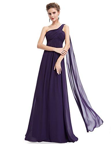 Ever-Pretty Damen Lange One Shoulder Chiffon Abendkleider Festkleider Größe 40 Dunkel Violett