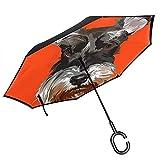 シュナウザー オレンジ色 Dog 逆転傘 逆さ傘 車の逆傘 折りたたみ傘 逆折り式傘 自立傘 長傘 日傘 手離れC型手元 耐風超撥水 晴雨兼用 ビジネス用 車用 UVカット 遮光遮熱 頑丈な52本骨
