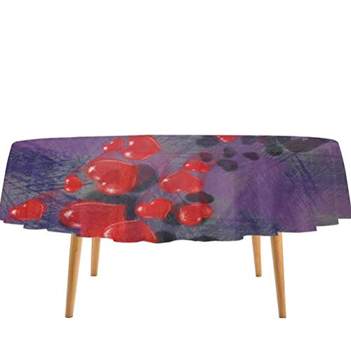 prunushome Skull Fitted Table Cover Skeleton in Love Throw Out Puke of Hearts Romantic Gesture Valentines Art Water Resistant Spill Proof Grey Red and Purple – 36' Round