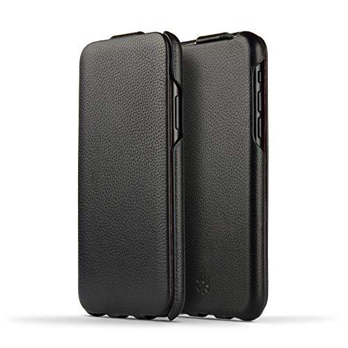 NOVADA Custodia per iPhone X Custodia a Flip in Vera Pelle per Apple iPhone X - Collezione Duke - Nero