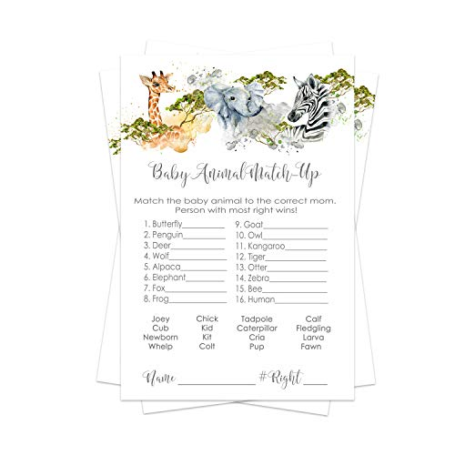 Jungle Animal Baby Shower Animal Matching Game Pack (25 Cards) Fun Guess the Pair Activity - Sprinkle - Adults - Groups - Kids Birthday – Royal Prince Party Supplies - Neutral Boy or Girl