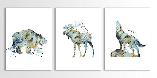 Bear Art, Moose, Wolf Art Print, North American Animals, Woodland Animals, Set of Three Limited Edition Watercolor Art Prints